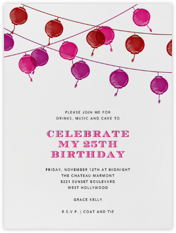 Lanterns - Pink - Paperless Post - Adult Birthday Invitations