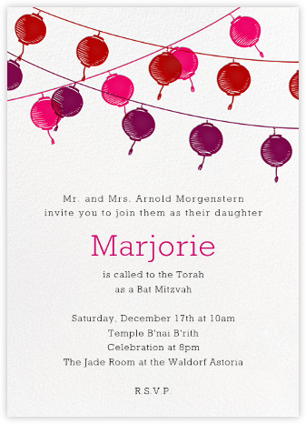 Lanterns - Pink - Paperless Post - Bar and Bat Mitzvah Invitations