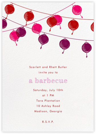 Lanterns - Pink - Paperless Post - Summer entertaining invitations