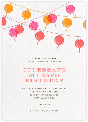 Lanterns - Sherbert - Paperless Post - Adult birthday invitations