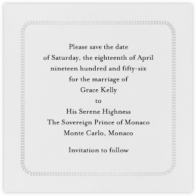 Leaf Inner Bevel Border - Ivory Silver (Small Square) - Paperless Post - Save the dates
