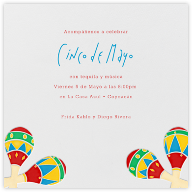 Letterpressed Maracas - Paperless Post - Cinco de Mayo Invites