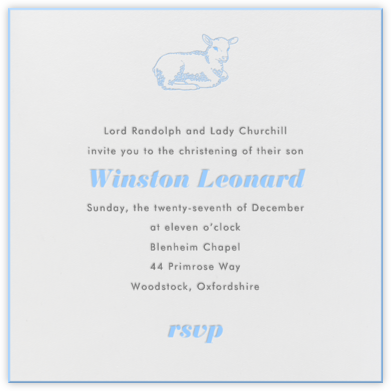 Little Lamb (Light Blue) - Paperless Post - Christening Invitations