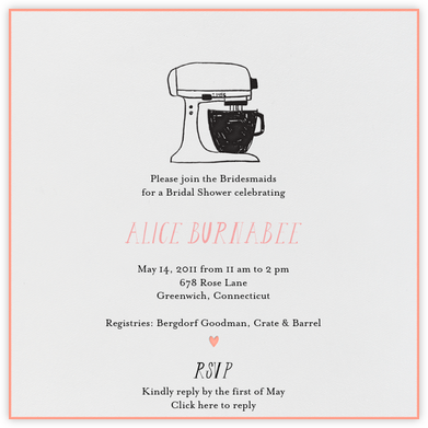 Little Miss Homemaker (Guava) - Mr. Boddington's Studio - Bridal shower invitations