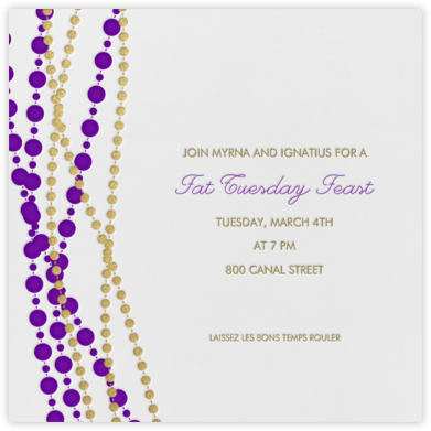 Mardi Gras Beads - Ivory - Paperless Post - Invitations