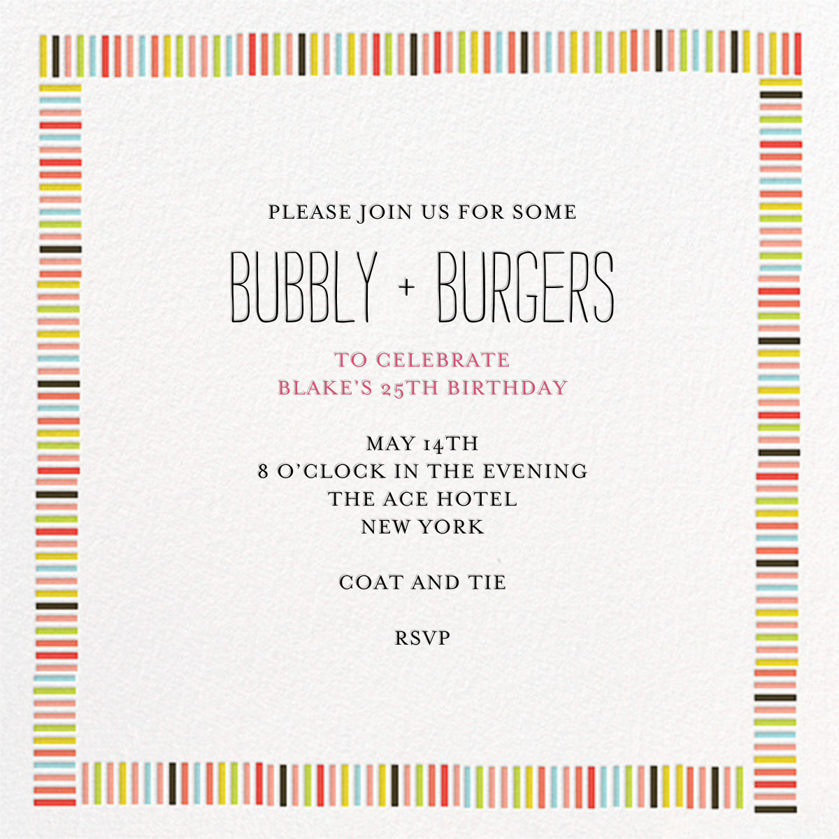 Mini Berlin - Japanese Mix - Mr. Boddington's Studio - Adult birthday invitations