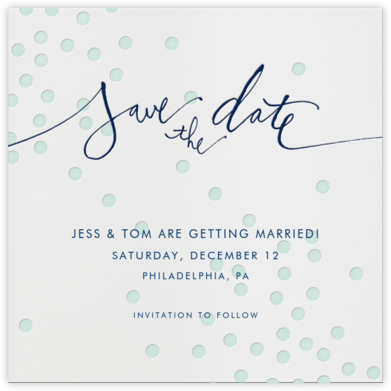 Mint dots - Linda and Harriett - Before the invitation cards