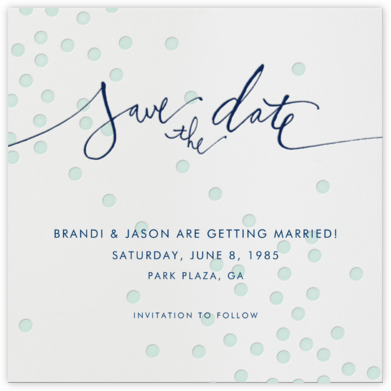 Mint dots - Linda and Harriett - Save the dates