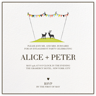 Mr and Mrs Deer - Lime - Mr. Boddington's Studio - Engagement party invitations