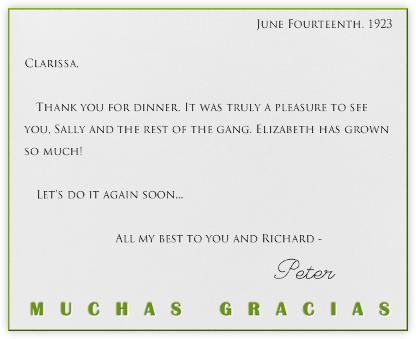 Muchas Gracias (Green) - Paperless Post -