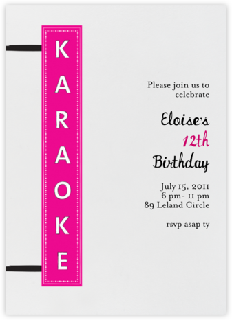 Karaoke Party - Mr. Boddington's Studio - Online Kids' Birthday Invitations