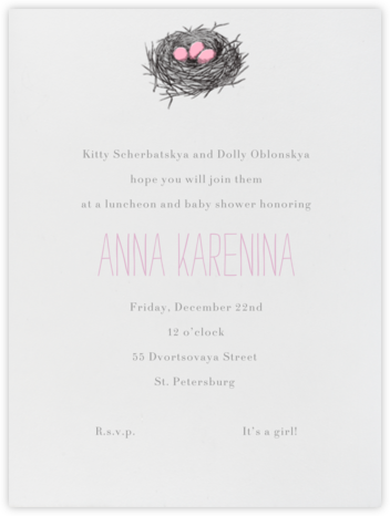 Nest (Pink) - Paperless Post - Baby Shower Invitations