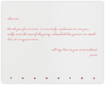 New Bond Street Thank You (Red) - Paperless Post -