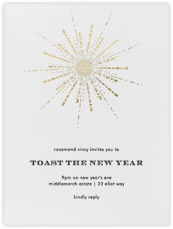 Ornate Fireworks (Ivory Gold) - Paperless Post - New Year's Eve Invitations