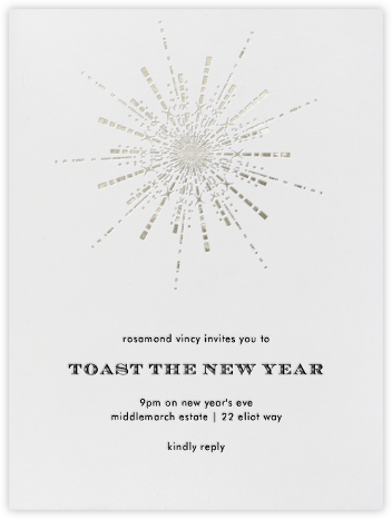 Ornate Fireworks (Ivory Silver) - Paperless Post - New Year's Eve Invitations