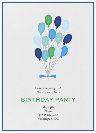 Paris Balloons - Blues - Mr. Boddington's Studio - Online Kids' Birthday Invitations