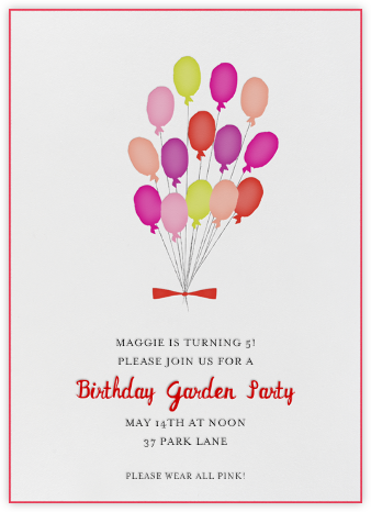 Paris Balloons - Pink - Mr. Boddington's Studio - Online Kids' Birthday Invitations