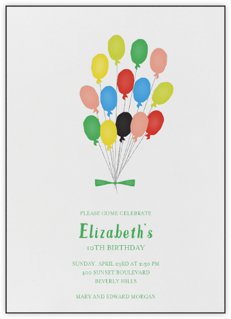 Paris Balloons - Brights - Mr. Boddington's Studio - Online Kids' Birthday Invitations