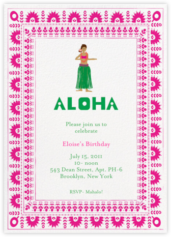 Pineapple Cake - Bright Pink/Medium - Mr. Boddington's Studio - Online Kids' Birthday Invitations