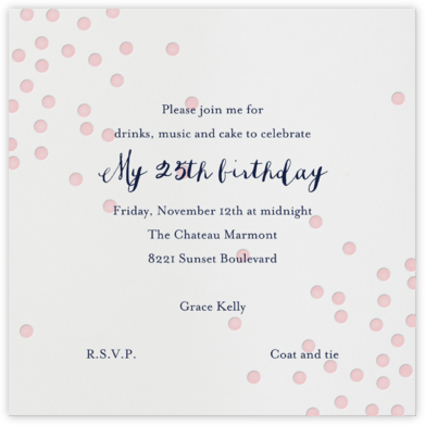 Pink Dots - Linda and Harriett - Adult birthday invitations
