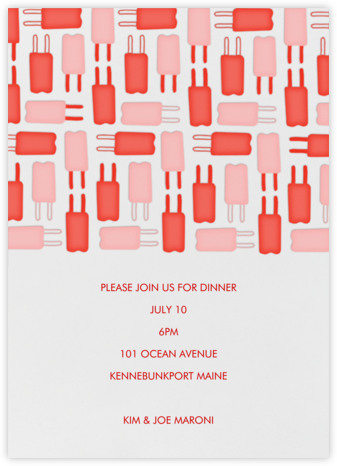 Popsicle Pattern - Reds - Linda and Harriett - Summer entertaining invitations