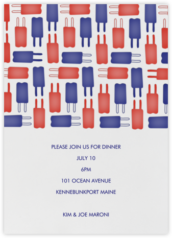 Popsicle Pattern - Red & Blue - Linda and Harriett - Pool Party Invitations