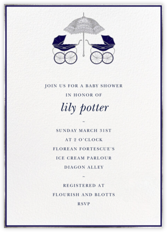 Pram - Blue - Paperless Post - Baby Shower Invitations