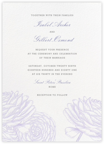 Ranunculus - Lavender - Paperless Post - Wedding Invitations