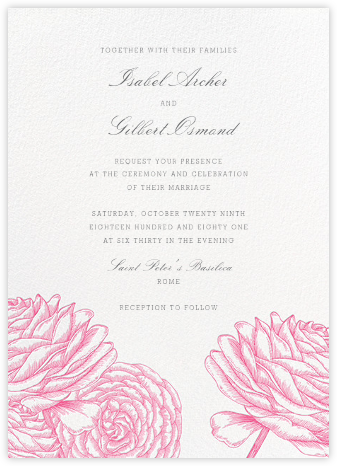 Ranunculus - Pink - Paperless Post - Wedding Invitations
