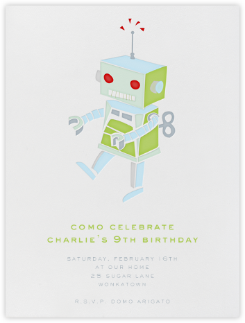 Robot - Blue - Paperless Post - Online Kids' Birthday Invitations
