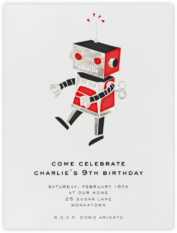 Robot - Silver - Paperless Post - Kids' birthday invitations