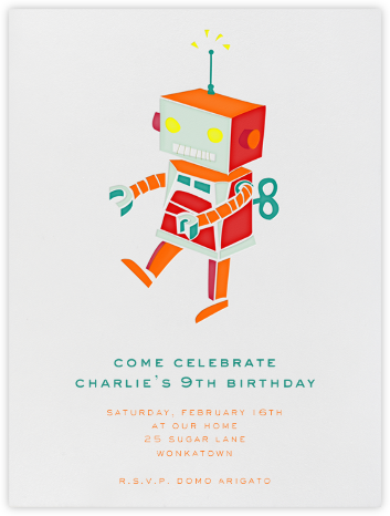 Robot - Orange - Paperless Post - Online Kids' Birthday Invitations
