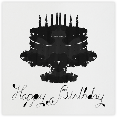 Rorschach Birthday Cake (Black) - Paperless Post - Birthday Cards for Him