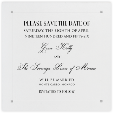 Square Embossed Corners - Silver (Small Square) - Paperless Post - Save the dates