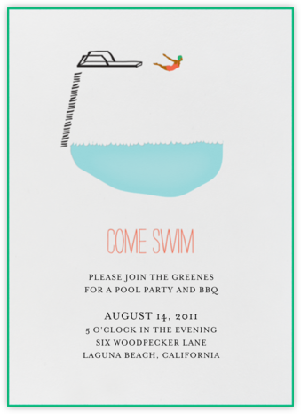Take A Dip - Mr. Boddington's Studio - Pool Party Invitations