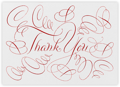 Thank You - Ivory/Red - Bernard Maisner - Online Thank You Cards