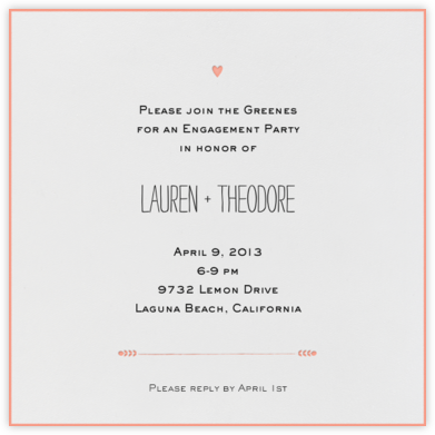 The Raleigh - Guava - Mr. Boddington's Studio - Engagement party invitations
