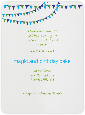 Triangle Flags Blues - Paperless Post - Online Kids' Birthday Invitations
