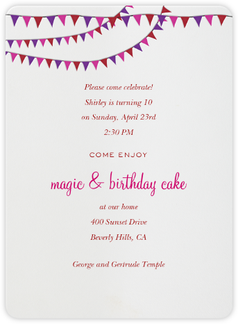 Triangle Flags Pinks - Paperless Post - Online Kids' Birthday Invitations