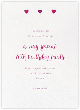 Triple Hearts - Paperless Post - Kids' birthday invitations