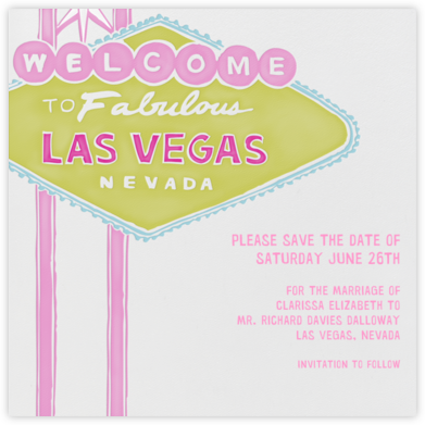 Vegas Welcome - Chartreuse - Paperless Post - Bachelorette party invitations