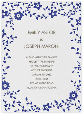Vintage Flower - Navy - Linda and Harriett - Invitations