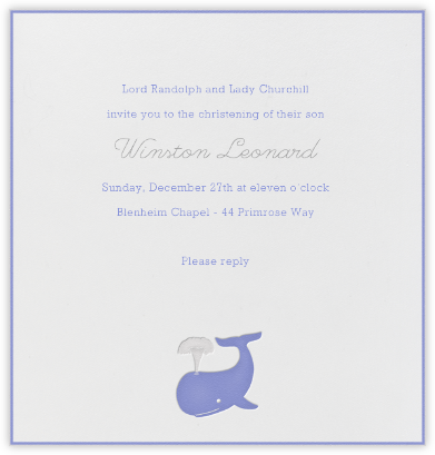 Whale (Blue) - Paperless Post - Baptism invitations