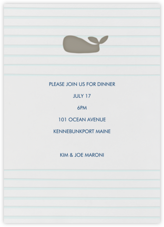 Whale - Linda and Harriett - Summer entertaining invitations