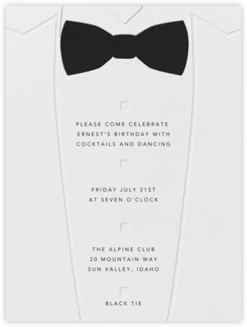 White Tuxedo - Paperless Post - Adult Birthday Invitations
