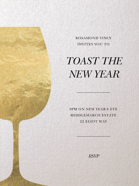 Wineglass Foil (Ivory) - Paperless Post - New Year's Eve