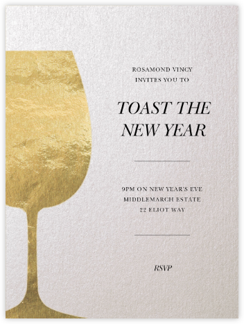 Wineglass Foil (Ivory) - Paperless Post - New Year's Eve Invitations