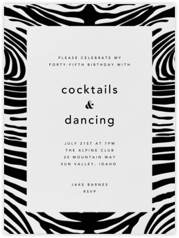 Zebra Stripes (Black)  - Paperless Post - Adult birthday invitations