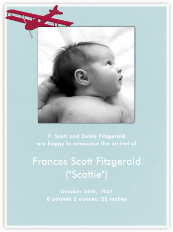 Biplane - Light Blue - Paperless Post - Birth Announcements