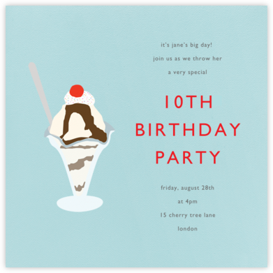 Ice Cream Sundae - Light Blue - Paperless Post - Kids' birthday invitations